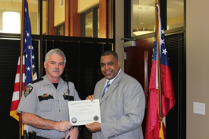 Certificate Of Appreciation Richmond County Sheriff S Office